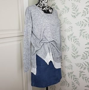 Silence + Noise Gray Pullover Sweater White Trim